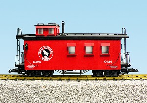 USA TRAINS G SCALE R12029 Great Northern - Red  WOODSIDE CABOOSE