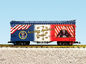 "USA Trains G Scale R16037 ""Keeping America Great!"" Patriotic Car Reefer"