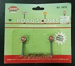 Model Power N Scale 8578 Road Scenes Brass GULF Lighted Gas Station Signs