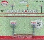 Model Power N Scale 8579 Road Scenes Brass EXXON Lighted Gas Station Signs