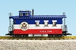 USA Trains G Scale R12028 Patriotic Woodsided Caboose- Red/White/Blue