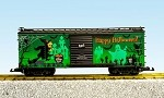 USA Trains G Scale R19121 Glow In The Dark Happy Halloween Box Car  - Two Tone Green/Black